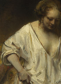 Detail from Rembrandt, 'A Woman bathing in a Stream (Hendrickje Stoffels?)', 1654
