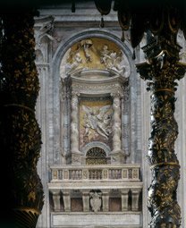 St Peter's, Rome, showing a tabernacle with the Solomonic columns from Old St Peter's seen through Bernini's later bronze baldacchin.
