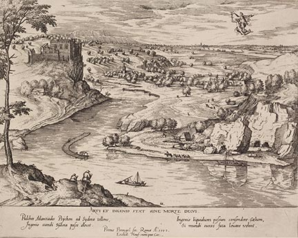 Simon Novellanus after Pieter Bruegel, 'River Landscape with Mercury and Psyche', about 1595, engraving and etching. The Trustees of the British Museum, London