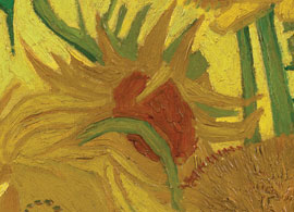 Detail of deep red centre of sunflower on the left in the Amsterdam painting showing the use of a thick translucent glaze paint