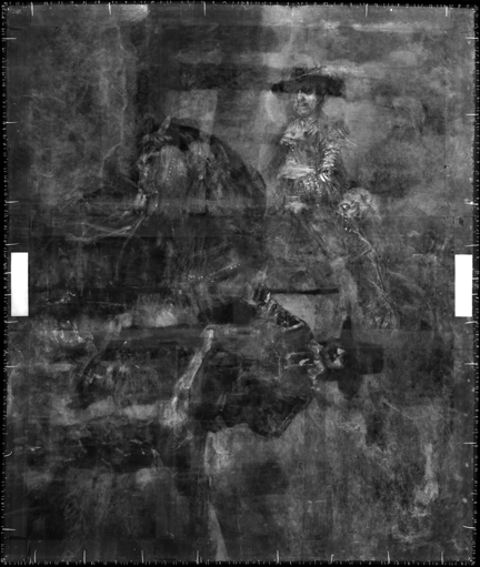 An X-ray image of Rembrandt, 'Portrait of Frederick Rihel on Horseback', probably 1663.