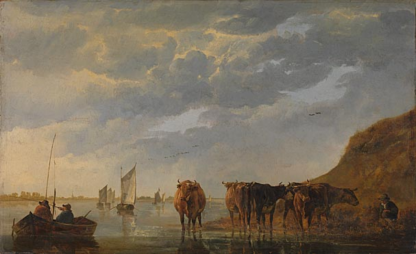 Aelbert Cuyp, A Herdsman with Five Cows by a River