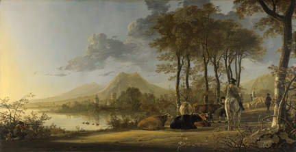 Aelbert Cuyp: 'River Landscape with Horseman and Peasants', about 1658-60