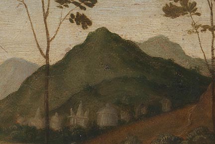 Attributed to Sassoferrato, after Perugino, 'The Baptism of Christ', detail showing the warm pinkish ground