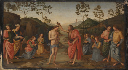 Attributed to Sassoferrato, after Pietro Perugino, 'The Baptism of Christ', about 1630–50