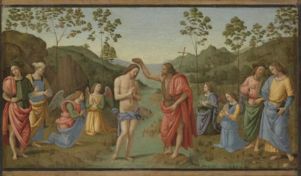 After Pietro Perugino, 'The Baptism of Christ', probably late 16th or early 17th century, Canterbury City Council Museums. © Photo: The National Gallery, London / courtesy Canterbury City Council Museums