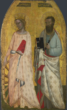 Attributed to Allegretto Nuzi: 'Saint Catherine and Saint Bartholomew'
