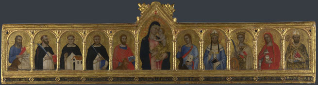 Attributed to Andrea di Bonaiuto da Firenze: 'The Virgin and Child with Ten Saints'