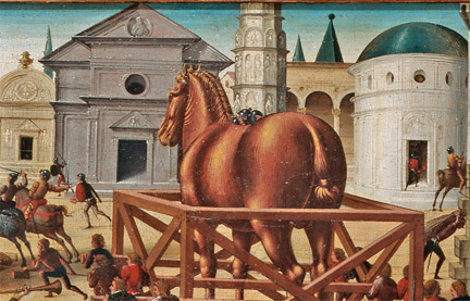 Biagio di Antonio: Detail from 'The Siege of Troy, The Wooden Horse'.