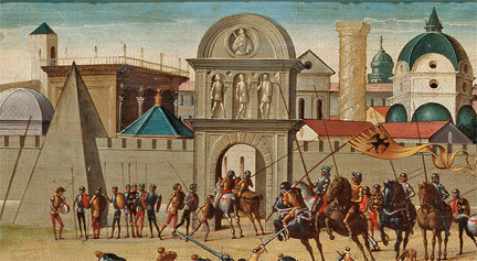 Biagio di Antonio: Detail from 'The Siege of Troy, The Death of Hector'.