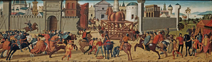 Biagio di Antonio: 'The Siege of Troy, The Wooden Horse'.