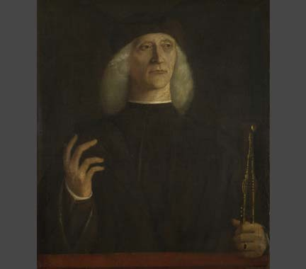 Attributed to Gentile Bellini, 'A Man with a Pair of Dividers (?)', about 1500