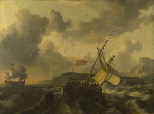 Ludolf Bakhuizen: 'An English Vessel and a Man-of-war in a Rough Sea'