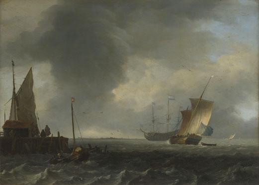 Ludolf Bakhuizen: 'A View across a River near Dordrecht (?)'
