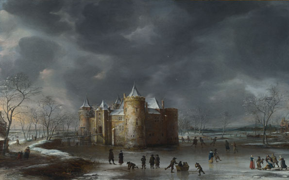 Jan Beerstraaten: 'The Castle of Muiden in Winter'