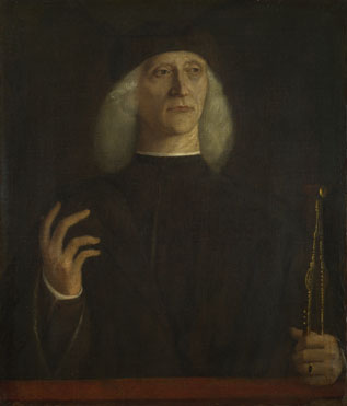 Attributed to Gentile Bellini: 'A Man with a Pair of Dividers (?)'