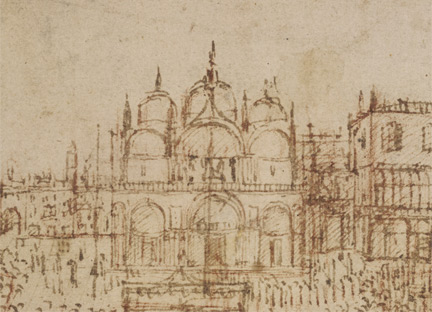 Gentile Bellini: Detail of the basilica and Doge's Palace from 'A Procession in Piazza San Marco'.