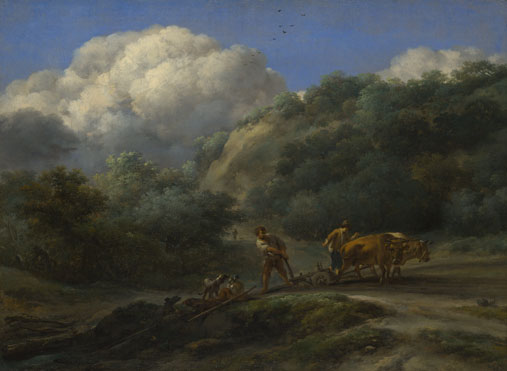 Nicolaes Berchem: 'A Man and a Youth ploughing with Oxen'