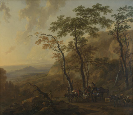 Nicolaes Berchem: 'Mountainous Landscape with Muleteers'