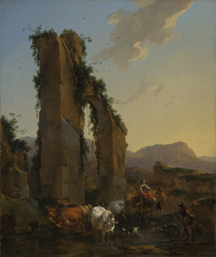 Nicolaes Berchem: 'Peasants by a Ruined Aqueduct'
