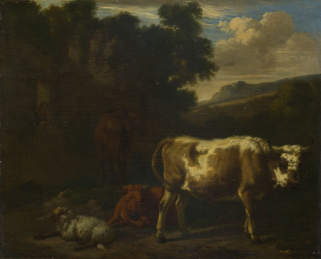 Dirck van den Bergen: 'Two Calves, a Sheep and a Dun Horse by a Ruin'