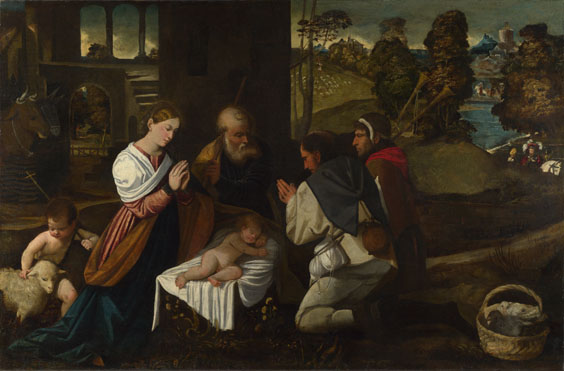 Attributed to Bernardino da Asola: 'The Adoration of the Shepherds'