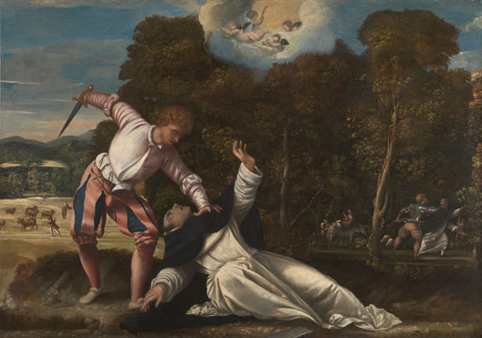 Attributed to Bernardino da Asola: 'The Death of Saint Peter Martyr'