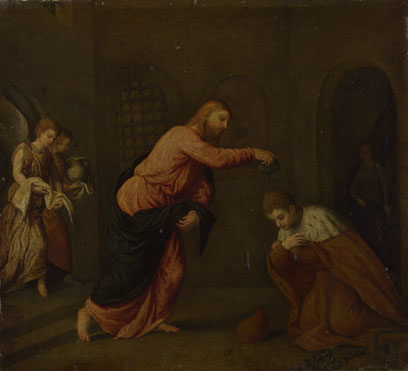 Paris Bordone: 'Christ baptising Saint John Martyr, Duke of Alexandria'
