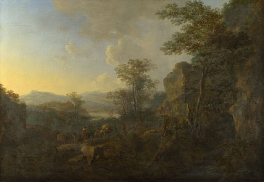Jan Both: 'A Rocky Landscape with Peasants and Pack Mules'