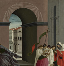 Sandro Botticelli: Detail of the arched passageway from 'Three Miracles of Saint Zenobius'.