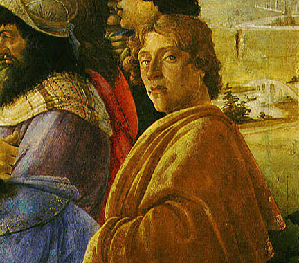 Detail from Sandro Botticelli, Self-portrait from the Adoration of the Magi