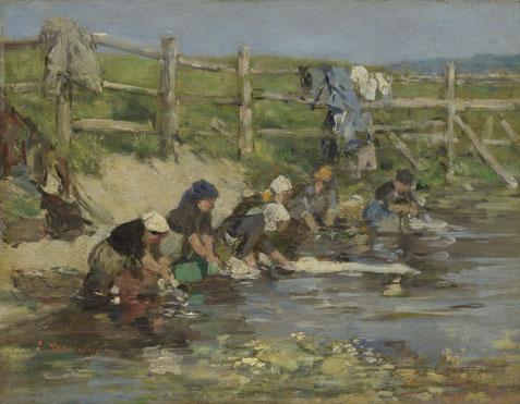 Eugène Boudin: 'Laundresses by a Stream'