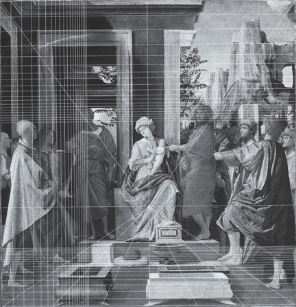 Bramantino: Diagram of incised lines in 'The Adoration of the Kings'.