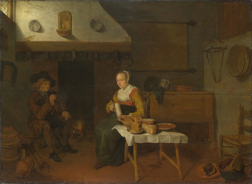 Quiringh van Brekelenkam: 'An Interior, with a Man and a Woman seated by a Fire'