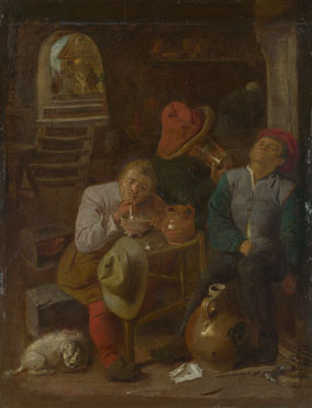 Style of Adriaen Brouwer: 'Four Peasants in a Cellar'