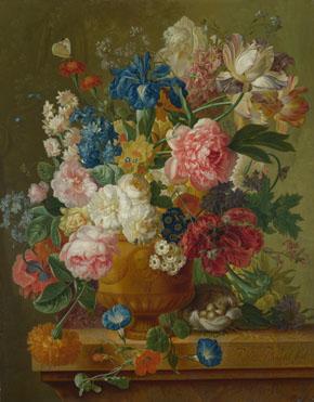 Paulus Theodorus van Brussel: 'Flowers in a Vase'