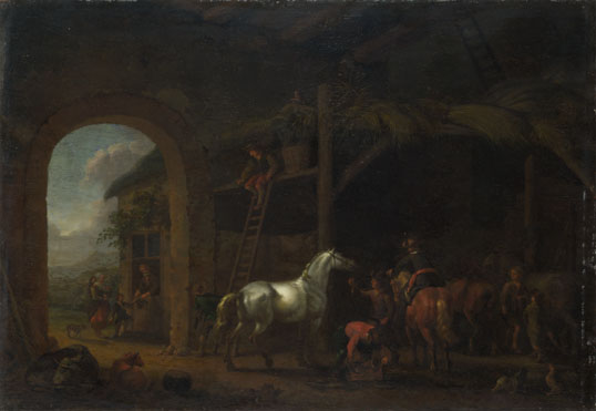 Abraham van Calraet: 'The Interior of a Stable'