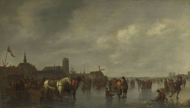 Abraham van Calraet: 'Scene on the Ice outside Dordrecht'