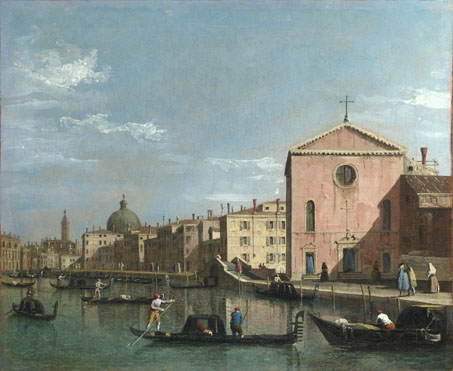 Follower of Canaletto: 'Venice: The Grand Canal facing Santa Croce'