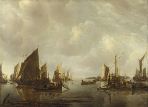 Jan van de Cappelle: 'A River Scene with Dutch Vessels Becalmed'