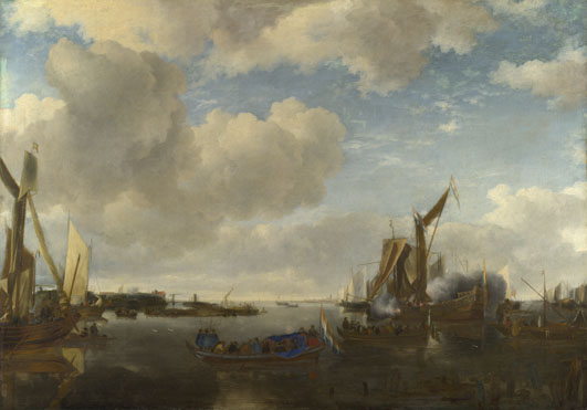 Jan van de Cappelle: 'A River Scene with a Dutch Yacht firing a Salute'