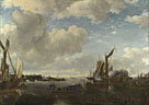 A River Scene with a Dutch Yacht firing a Salute