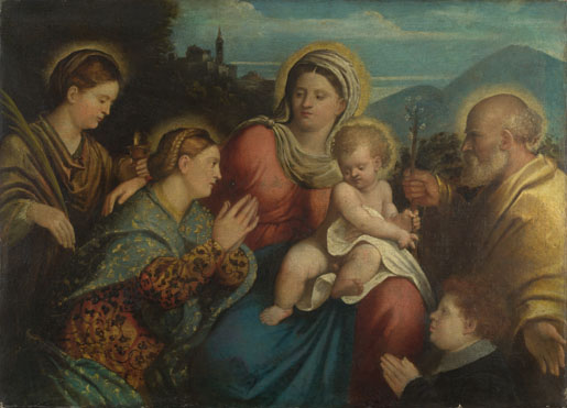 Attributed to Giovanni Cariani: 'The Holy Family with Saints and a Donor'