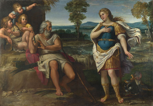 Circle of Annibale Carracci: 'Erminia takes Refuge with the Shepherds'