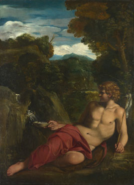 Circle of Annibale Carracci: 'Saint John the Baptist seated in the Wilderness'