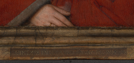 Jan van Eyck: 'Margaret, the Artist's Wife', 1439, detail of the lower frame moulding