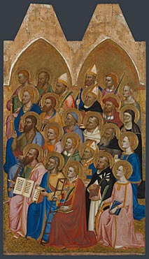 Attributed to Jacopo di Cione and workshop: 'Adoring Saints: Right Main Tier Panel'