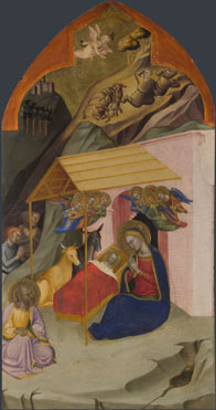 Attributed to Jacopo di Cione and workshop: 'The Nativity and Annunciation to the Shepherds'