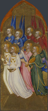 Attributed to Jacopo di Cione and workshop: 'Seraphim, Cherubim and Adoring Angels'