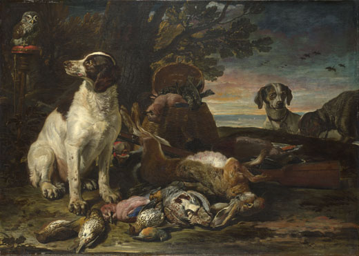 David de Coninck: 'Dead Birds and Game with Gun Dogs and a Little Owl'